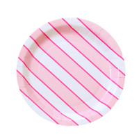Flamingo Pink Large Stripe Plate