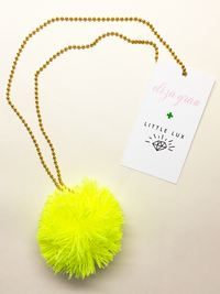 Pom Pom Yellow Necklace