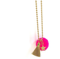 Star Bright Pom Pom Necklace- Pink
