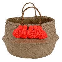 Neon Coral Tassel Basket