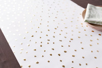 Snow Dot Gold and White Foil Pressed Table Runner