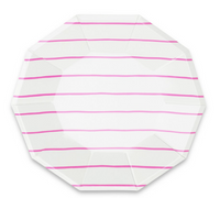 Frenchie Striped Large Plates- Cerise