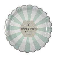 Toot Sweet Aqua Mint Stripe Large Party Plate
