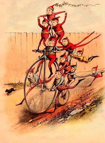 Big Wheel Elves 1890's Victorian Image Poster