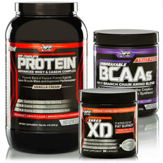 Incinerate fat, accelerate metabolism and attain lean muscle with the Shredded Stack. This fat eliminating, supplement trifecta includes two powdered drink mixes and a fat burner capsule. NFP Complete Protein, Unbreakable BCAAs and Shred XD Fat Burning Thermogenics.