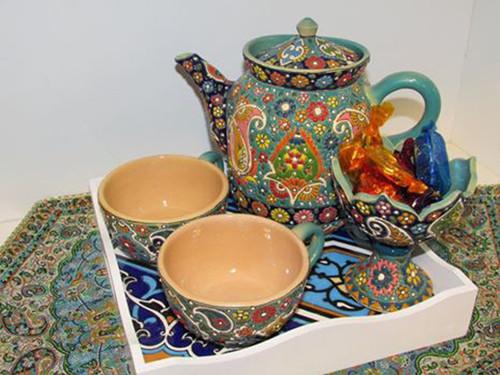 Unique Persian Handmade Textures Enamel painted Earthenware tea serving set