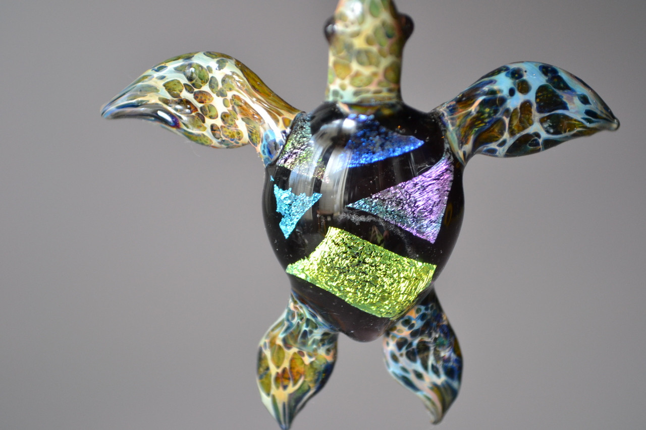 Sea turtle pendant with reddish orange coloring sea turtle blown glass jewelry mozeypictures Images