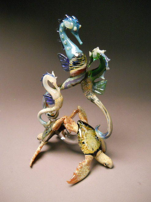 Sea Horses riding Sea Turtle Sculpture