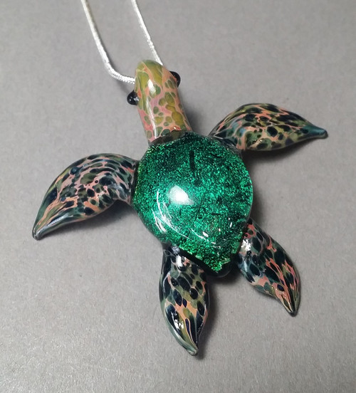 Green Sea Turtle pendant with silver serpentine chain for gals