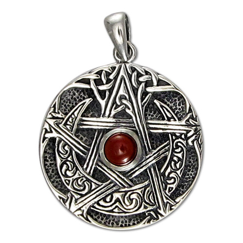 Sterling silver large moon pentacle pentagram pendant garnet wiccan sterling silver large moon pentacle pendant with garnet aloadofball Images