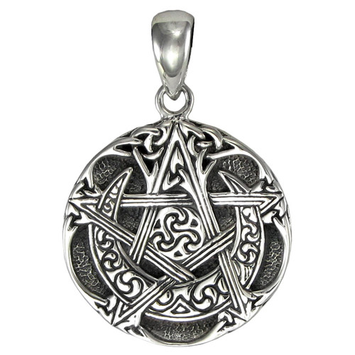 Small Sterling Silver Moon Pentacle Pendant