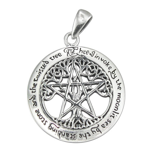 Sterling silver large cut out tree pentacle pentagram pendant wicca sterling silver large cut out tree pentacle pendant aloadofball Images