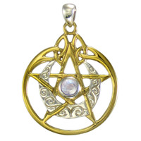 Sterling Silver Vermeil Crescent Moon Pentacle Pendant with Circle and Rainbow Moonstone