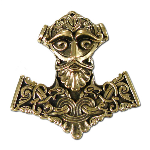 bronze thor hammer pendant norse god jewelry