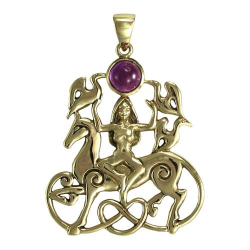 Bronze Rhiannon Pendant with Amethyst