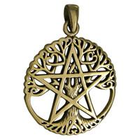 Bronze Cut Tree Pentacle Pendant