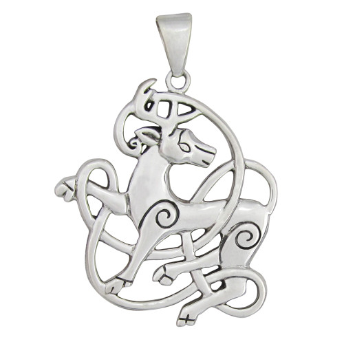 Sterling Silver Celtic Knot Stag Pendant