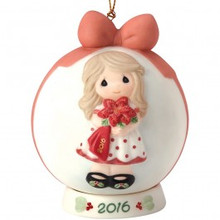 Precious Moments Wishing You a Beautiful Christmas Dated 2016 Round Ball Ornament