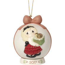 "Precious Moments ""May The Gift Of Love Be Yours This Season"" Dated 2017, Bisque Porcelain Ball Ornament with Base"
