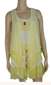 pretty angel Yellow & Cream Silk Blend Sleeveless Tunic