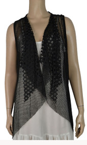 pretty angel Black Crochet Linen-Blend Vest