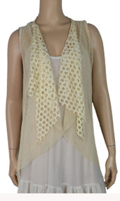 pretty angel Caramel Crochet Linen-Blend Vest