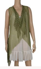pretty angel Green Crochet Linen-Blend Vest