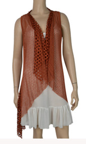 pretty angel Rust Crochet Linen-Blend Vest