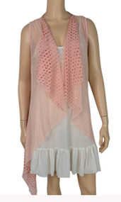 pretty angel Pink Crochet Linen-Blend Vest