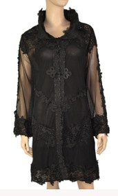 pretty angel Black Sheer Silk Blend Jacket with Button