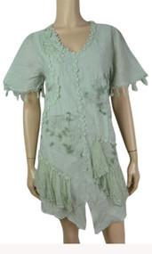pretty angel Aqua Short Sleeve Dress with Fringe