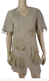 pretty angel Brown Short Sleeve Dress with Fringe