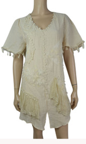 pretty angel Caramel Short Sleeve Dress with Fringe