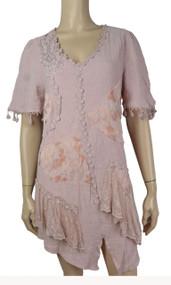 pretty angel Mauve Short Sleeve Dress with Fringe