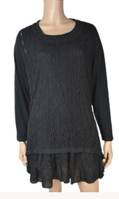 pretty angel Black Lace Accent Linen Blend Tunic