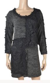 pretty angel Black Lace Front Linen Blend Tunic