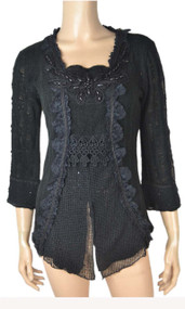 pretty angel Black Square Neck Layered Top