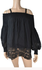 pretty angel Black Cold Shoulder Silk Blend Tunic