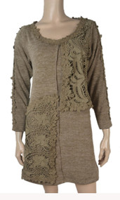 pretty angel Brown Lace Front Linen Blend Tunic