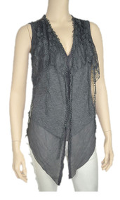 pretty angel Gray Linen Blend Vest