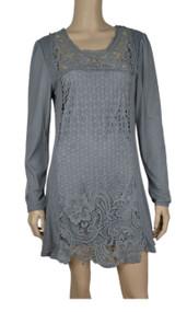 pretty angel Gray Crochet Linen Blend Tunic