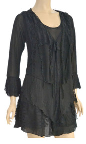 pretty angel Black Lace Layered Tunic Plus