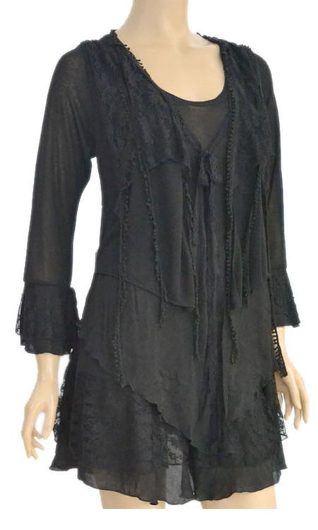 pretty angel Black Lace Layered Tunic Plus