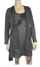 Dark Gray Crochet Layered Tunic Plus