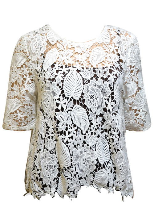 pretty angel White Sheer Lace Top