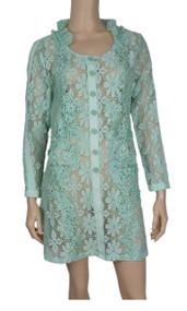 pretty angel Aqua Floral Lace Button Up Tunic