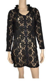 pretty angel Black Floral Lace Button Up Tunic
