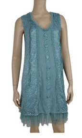 pretty angel Aqua Linen Blend Button Up Tunic
