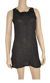 pretty angel Black Embellished Linen Blend Tunic
