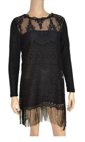 pretty angel Black layered Lace with Fringe Tunic